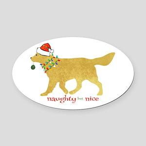 Naughty Christmas Golden Retriever Oval Car Magnet
