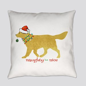 Naughty Christmas Golden Retriever Everyday Pillow
