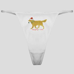 Naughty Christmas Golden Retriever Classic Thong