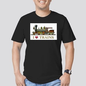 I Love Trains Men's Fitted T-Shirt (dark)
