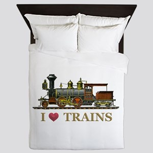 I Love Trains Queen Duvet