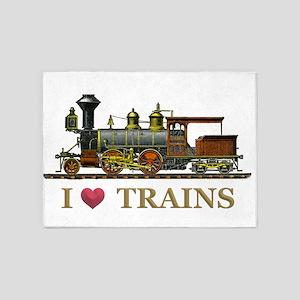 I Love Trains 5'x7'Area Rug