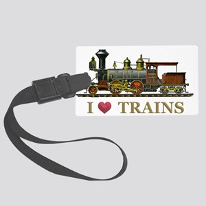 I Love Trains Large Luggage Tag