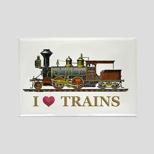 I Love Trains Rectangle Magnet