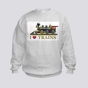 I Love Trains Kids Sweatshirt