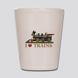 I Love Trains Shot Glass