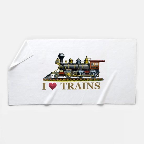 I Love Trains Beach Towel