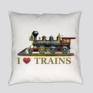 I Love Trains Everyday Pillow