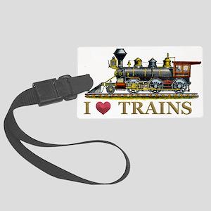 I Love Trains Large Luggage Tag