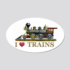 I Love Trains 20x12 Oval Wall Decal
