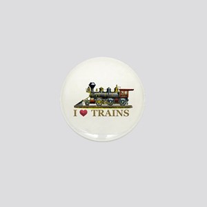 I Love Trains Mini Button