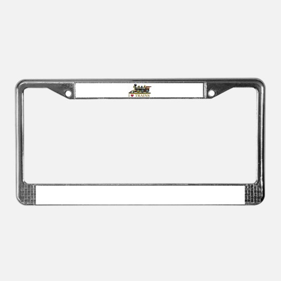 I Love Trains License Plate Frame