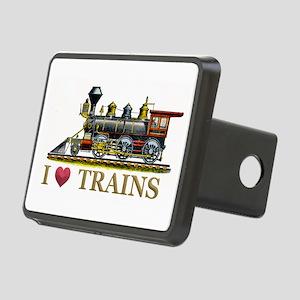 I Love Trains Rectangular Hitch Cover