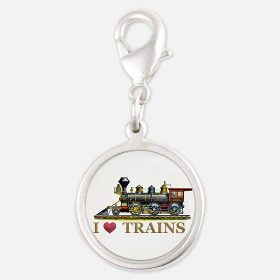 I Love Trains Silver Round Charm