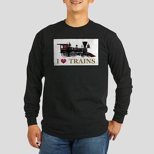 I Love Trains Long Sleeve Dark T-Shirt