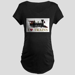 I Love Trains Maternity Dark T-Shirt