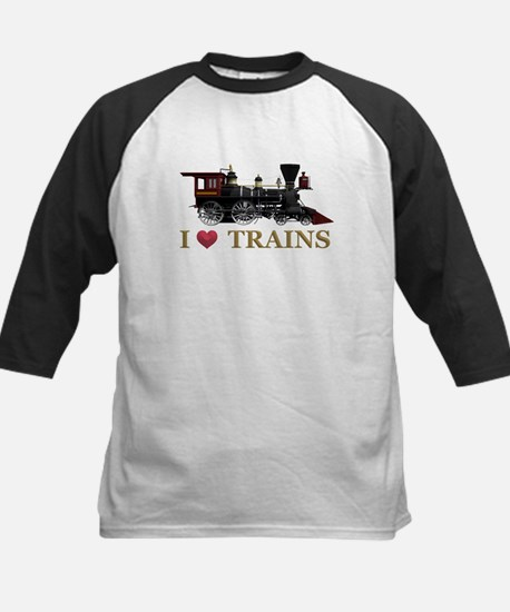 I Love Trains Kids Baseball Jersey