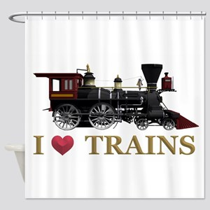 I Love Trains Shower Curtain