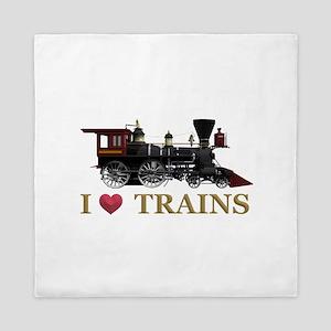 I Love Trains Queen Duvet