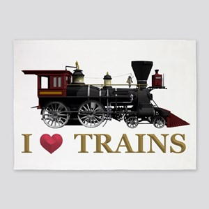 I Love Trains 5'x7'Area Rug