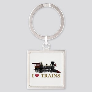 I Love Trains Square Keychain