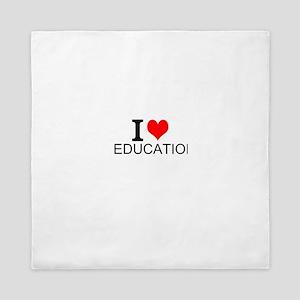 I Love Education Queen Duvet