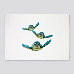 Baby Sea Turtles Swimming 5'x7'Area Rug