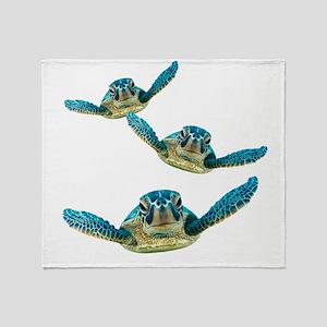 Baby Sea Turtles Swimming Throw Blanket