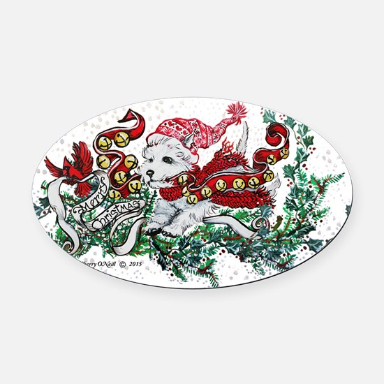Westie White Christmas Oval Car Magnet
