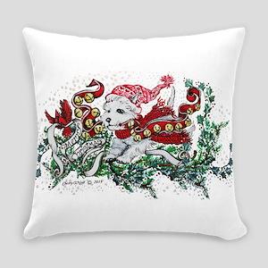 Westie White Christmas Everyday Pillow
