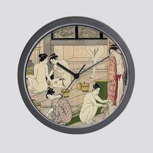 asian geisha bathhouse Wall Clock