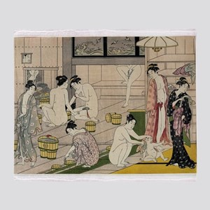 asian geisha bathhouse Throw Blanket