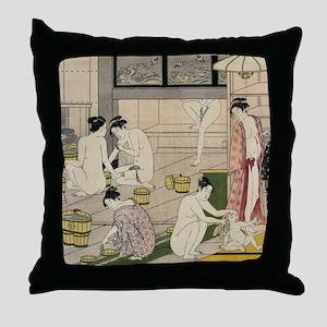 asian geisha bathhouse Throw Pillow