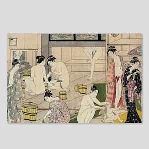 asian geisha bathhouse Postcards (Package of 8)