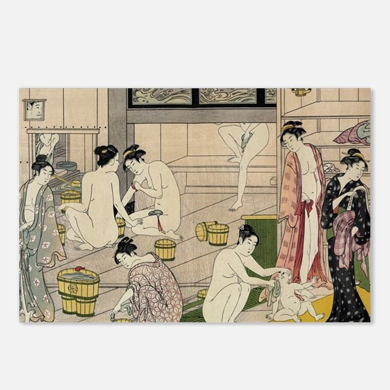 asian geisha bathhouse Postcards (Package of 8)