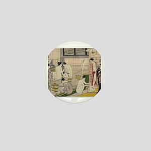 asian geisha bathhouse Mini Button