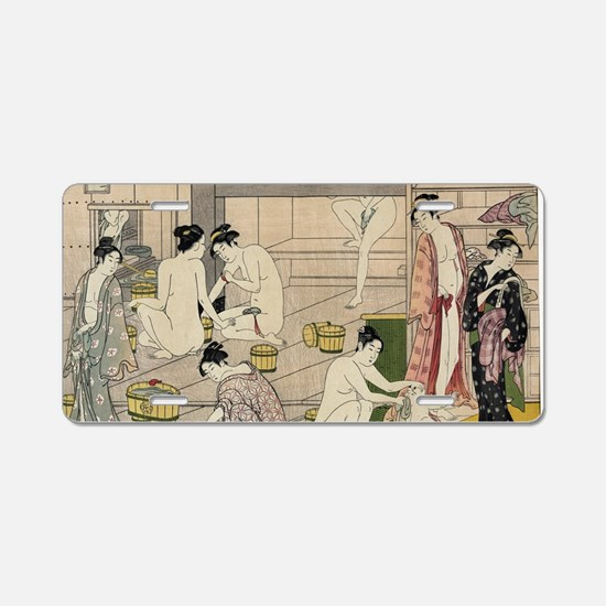 asian geisha bathhouse Aluminum License Plate