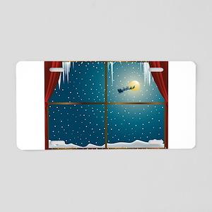 Christmas Eve Window Aluminum License Plate