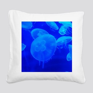 BLUE JELLYFISH 1 Square Canvas Pillow