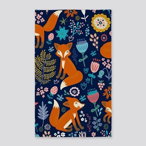 Cute Red Foxes & Colorful Retro Flowers P Area Rug