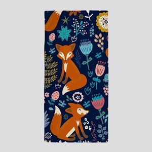 Cute Red Foxes & Colorful Retro Flower Beach Towel