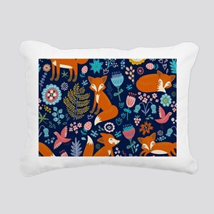 Cute Red Foxes & Colorfu Rectangular Canvas Pillow
