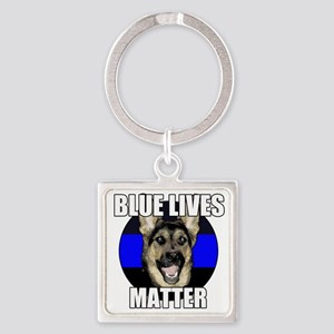Blue lives matter 2 Square Keychain