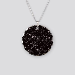 black starry night Necklace Circle Charm