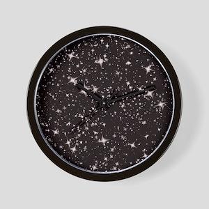 black starry night Wall Clock