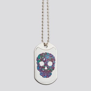 Teardrop Candy Skull In Blue, Green And Dog Tags