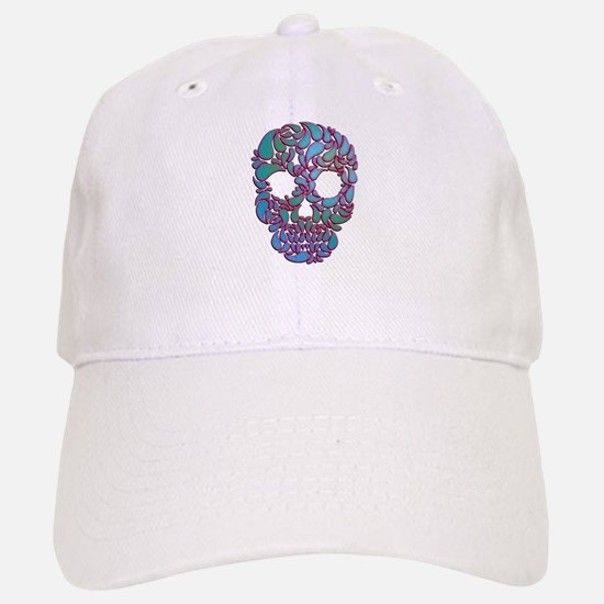 Teardrop Candy Skull In Blue, Green and Pink Baseb