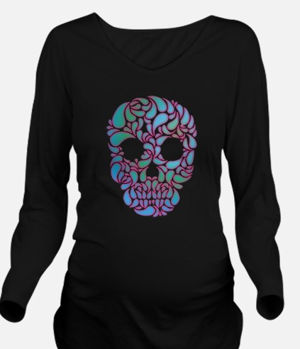 Teardrop Candy Skull In Blue, Green and Pink Long