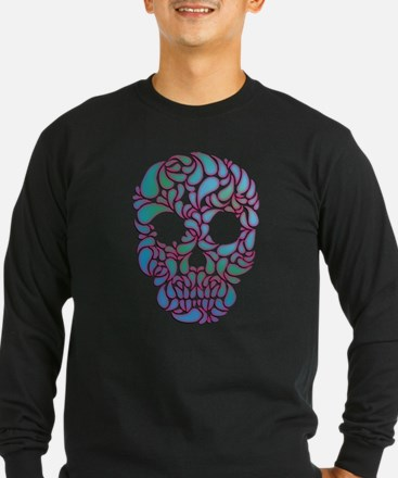 Teardrop Candy Skull In Blue, Green and Pink T