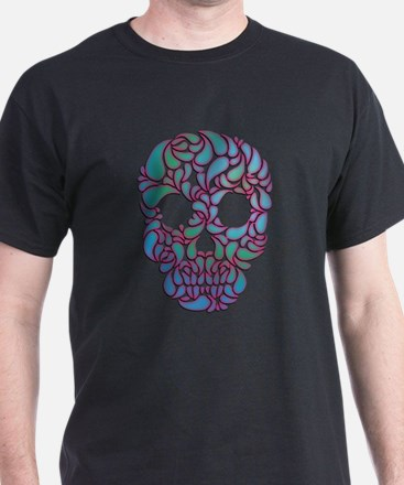 Teardrop Candy Skull In Blue, Green and Pink T-Shi
